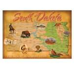 SOUTH DAKOTA MAP POSTCARD