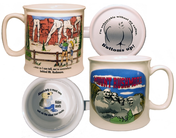 BEHIND MOUNT RUSHMORE PUFF MUG