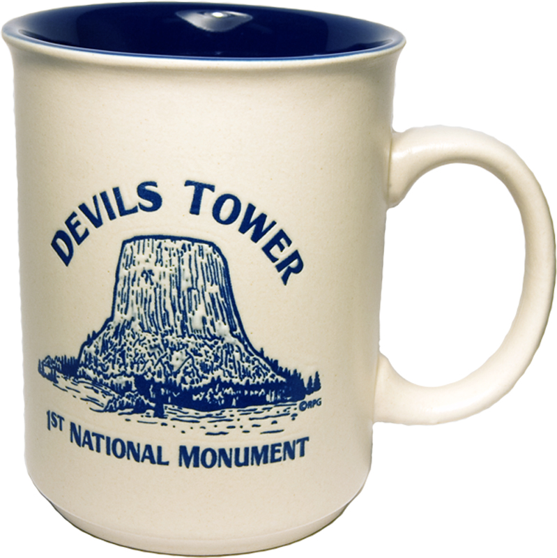 DEVILS TOWER BLUE DIRECT PRINT HISTORY MUG