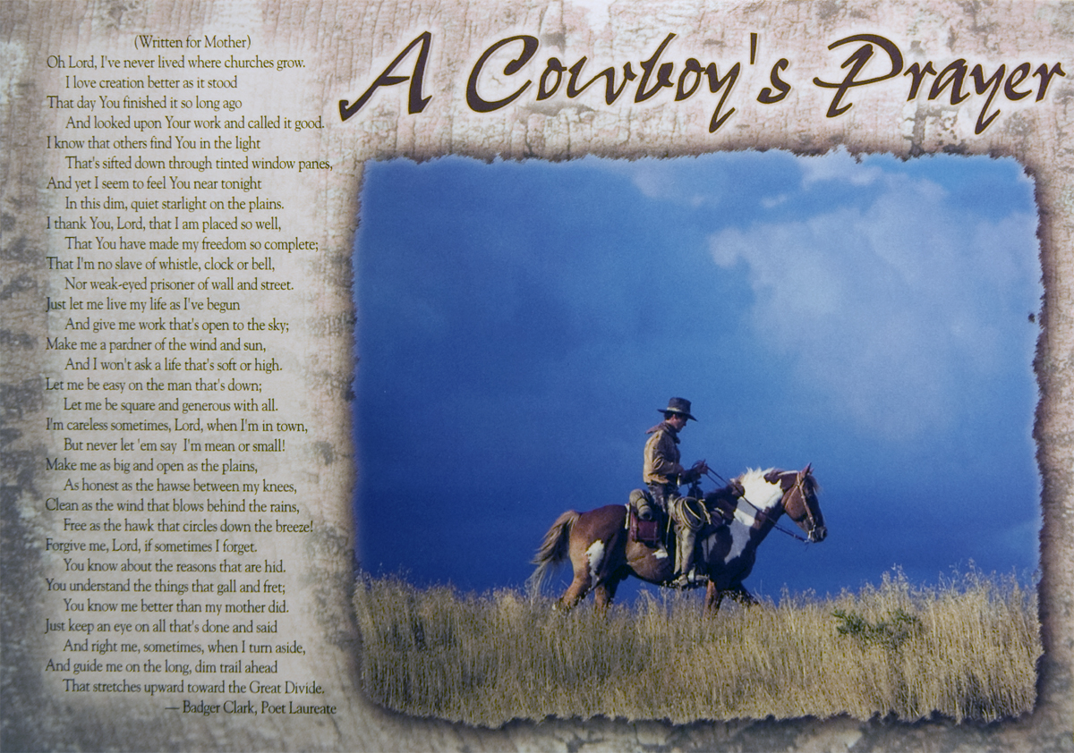 COWBOYS' PRAYER POSTCARD