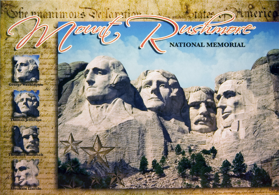 MOUNT RUSHMORE CONSTITUTION POSTCARD