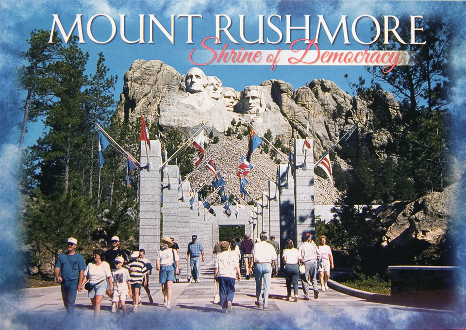 MOUNT RUSHMORE AVENUE OF THE FLAGS POSTCARD