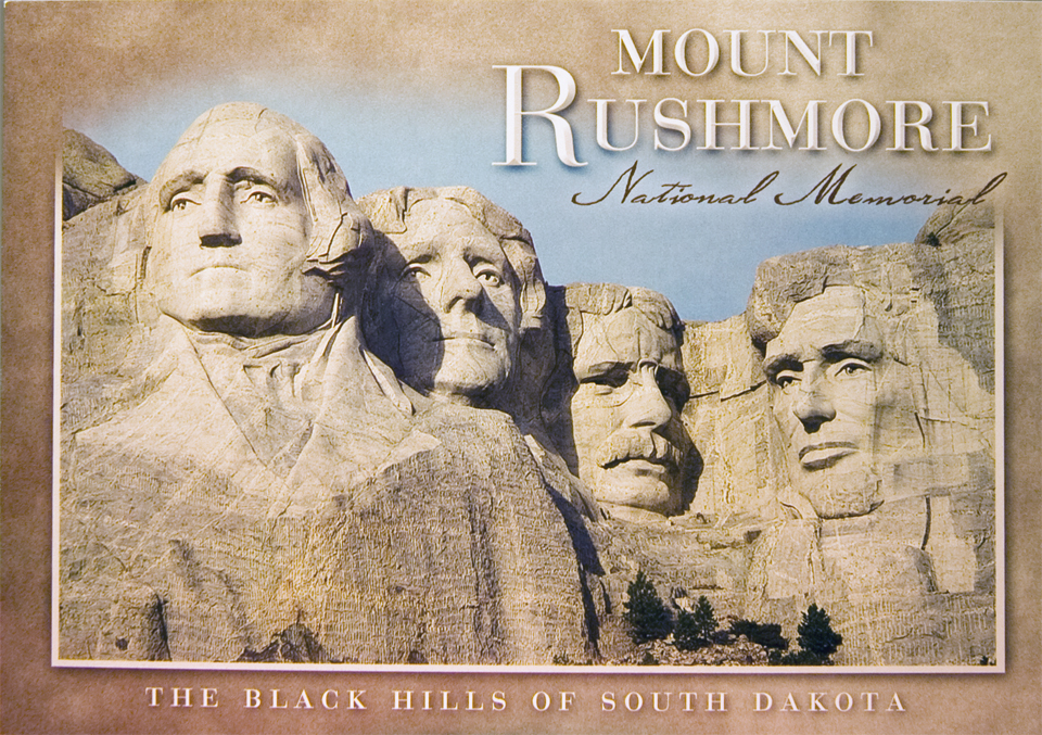 MOUNT RUSHMORE GRANITE BORDER POSTCARD