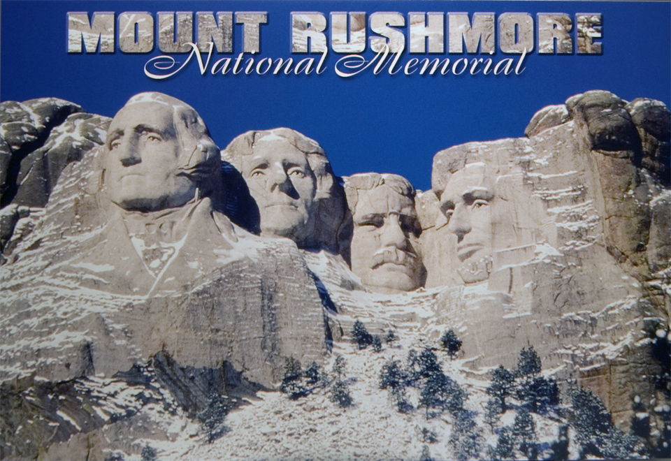 MOUNT RUSHMORE IN THE SNOW POSTCARD