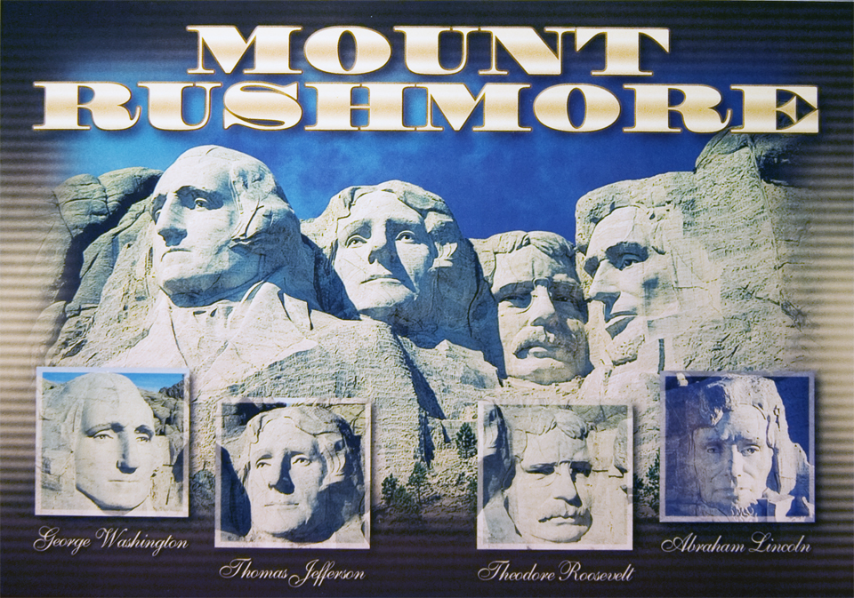 MOUNT RUSHMORE FACES POSTCARD
