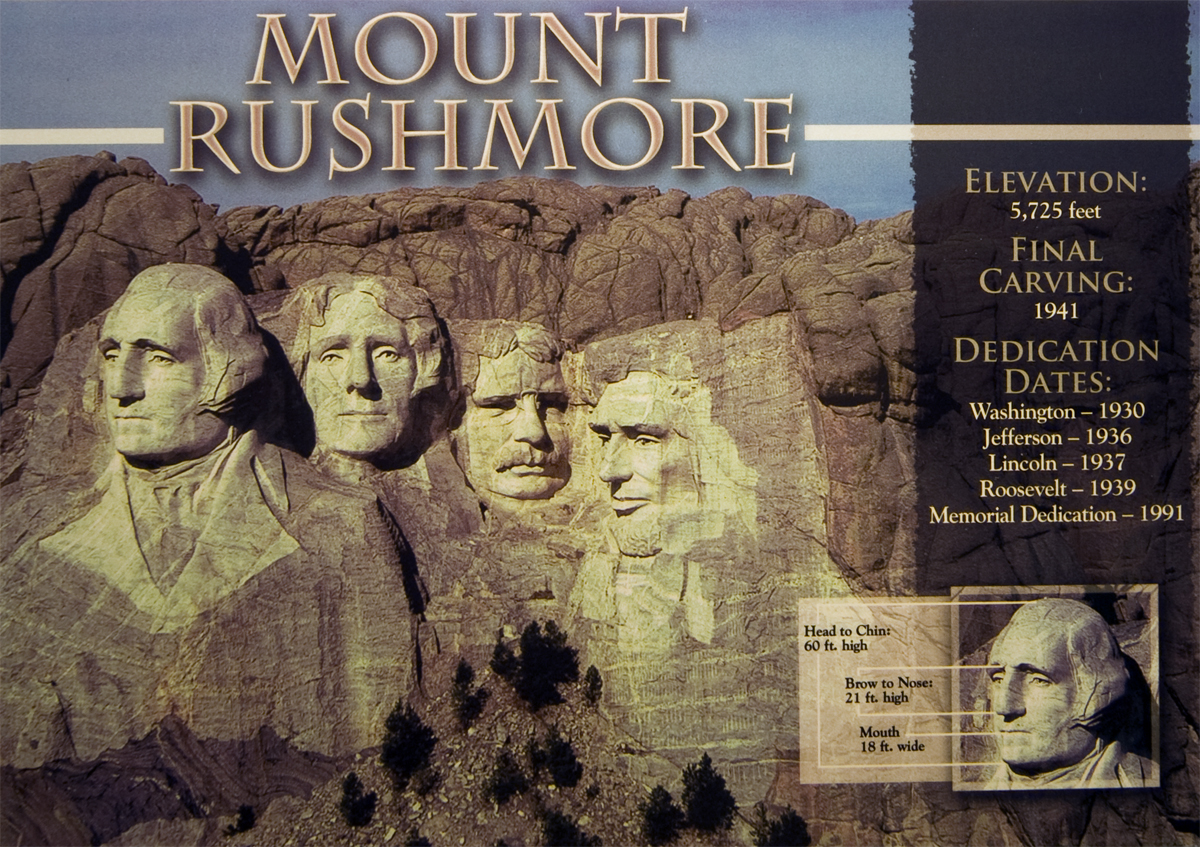 MOUNT RUSHMORE DIMENSIONS POSTCARD
