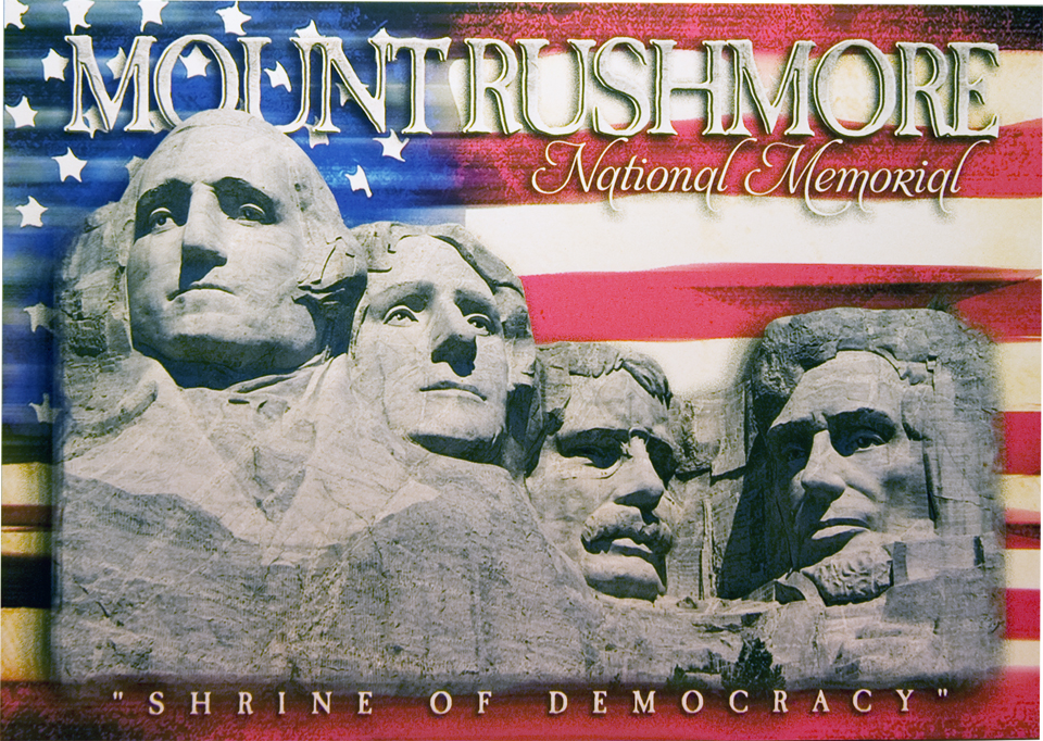 MOUNT RUSHMORE SHRINE OF DEMOCRACY POSTCARD