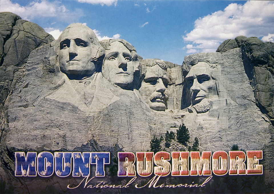 MOUNT RUSHMORE RED/WHITE/BLUE POSTCARD