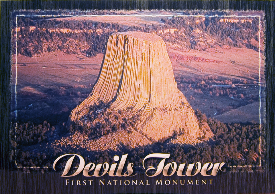 DEVILS TOWER AERIAL POSTCARD