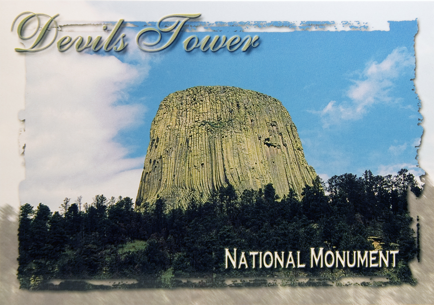 DEVILS TOWER BLUE SKY POSTCARD