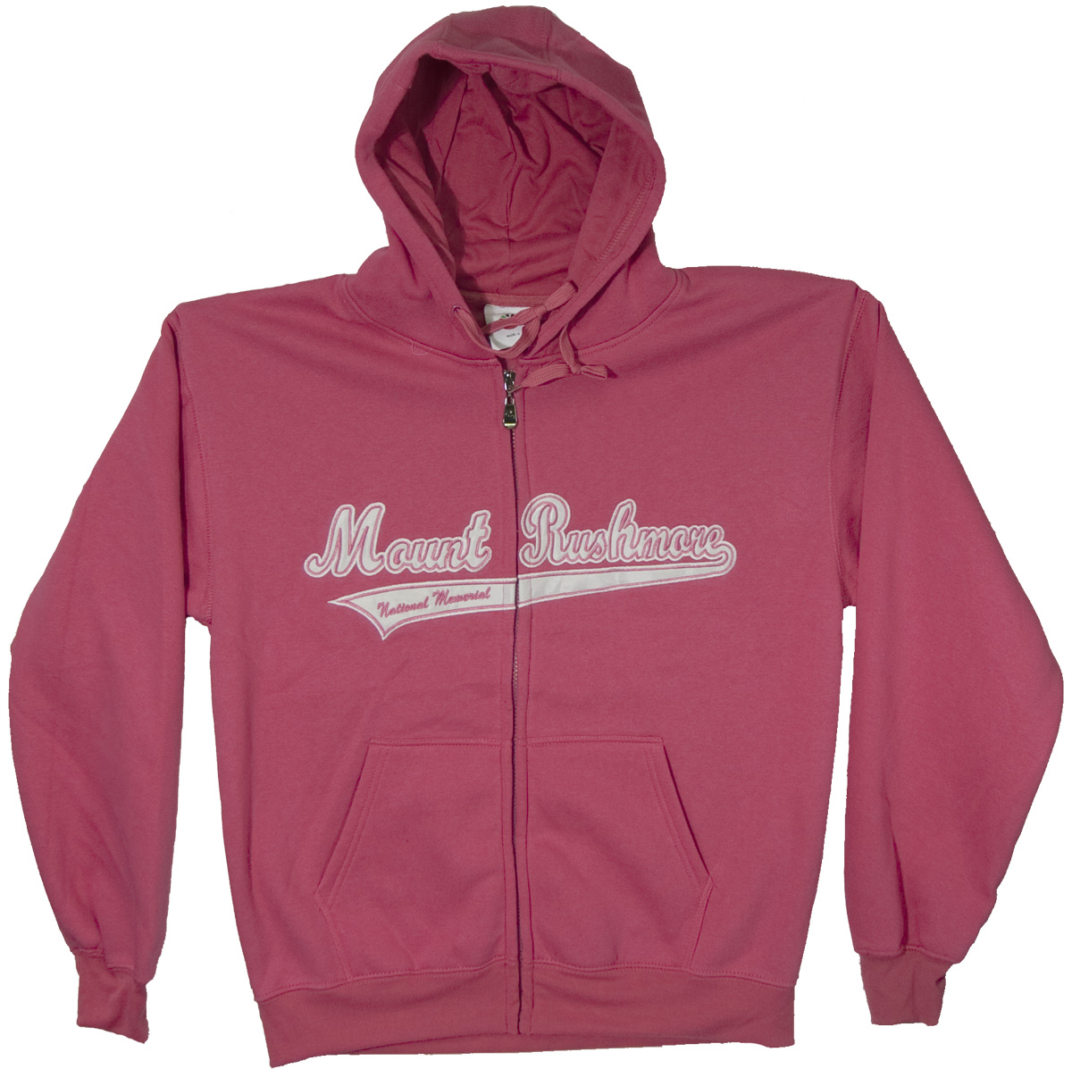 (L) MOUNT RUSHMORE HOT PINK APPLIQUE ZIP HOODY