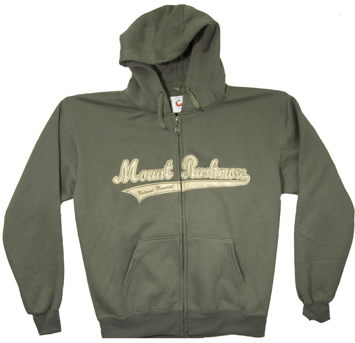 (XL) MOUNT RUSHMORE OLIVE APPLIQUE ZIP HOODY