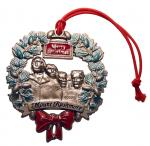 MOUNT RUSHMORE PEWTER WREATH ORNAMENT