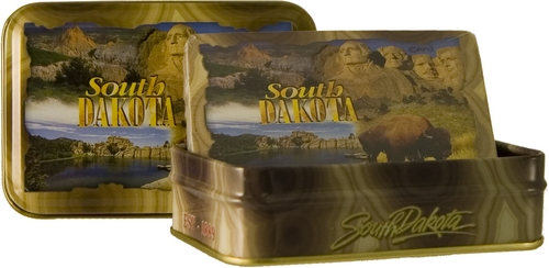 SOUTH DAKOTA 4-VIEW METAL BOX PLAYING CARDS